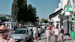 Turkey the Aegean Sea Bodrum 005 busy main street Footage