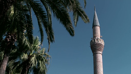 Turkey the Aegean Sea Bodrum 008 minaret and palm leaves against sky Footage