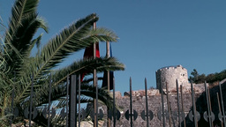 Turkey The Aegean Sea Bodrum 025 Medieval Castle Behind Iron Fence stock footage