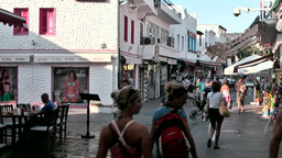 Turkey the Aegean Sea Bodrum 027 shopping street in city center Footage