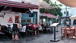 Turkey the Aegean Sea Bodrum 029 sitting outside restaurants Footage