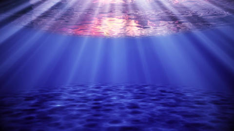 Blue Ocean Sea Underwater at Sunset Environment Background Backdrop Animation