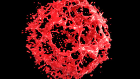 Beautiful Liquid Paint Red Color Explosion in Slow Motion. Abstract 3d Animation Animation