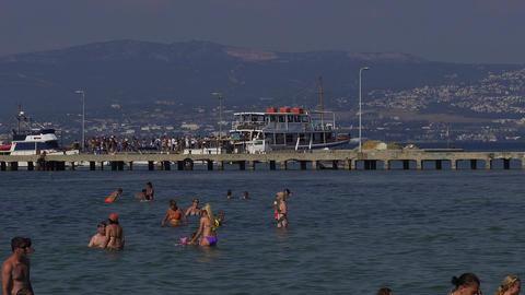 Thessaloniki waterbus sea cruises ship at Neoi Epivates, Greece Footage