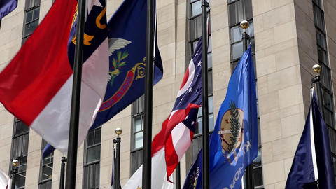 New York Rockefeller Plaza Flags 06 Live Action
