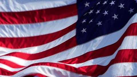 USA Flag on Wind Image