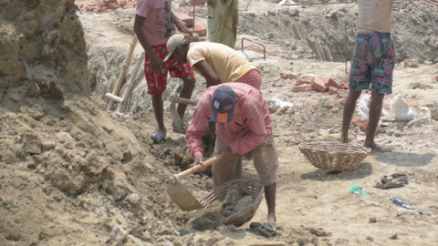 Indian family working as labours Footage