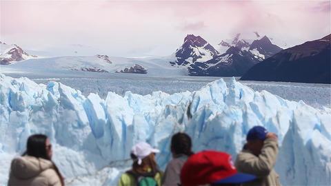 Tourists In The Perito Moreno Glacier Footage