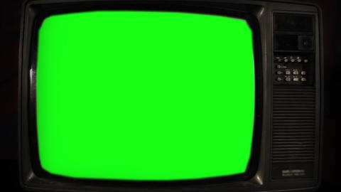 Vintage Tv Green Screen Archivo
