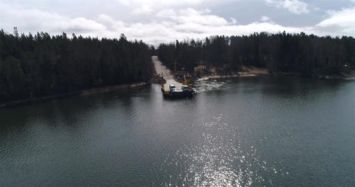 Skåldö cable ferry, Cinema 4k aerial circuling view following a yellow cable f Live Action