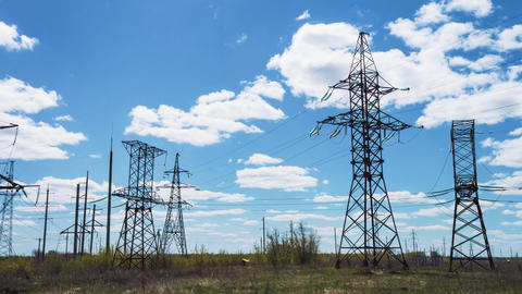 power lines. Electric high-voltage supports. Transmission of electricity by wire Footage