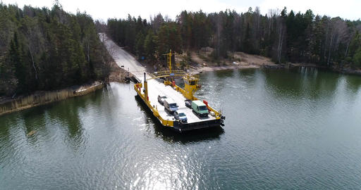 Skåldö cable ferry, Cinema 4k aerial orbit view of a yellow cable ferry, in Live Action