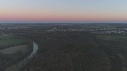 Danube River in Ulm with Drone at Sunset Footage
