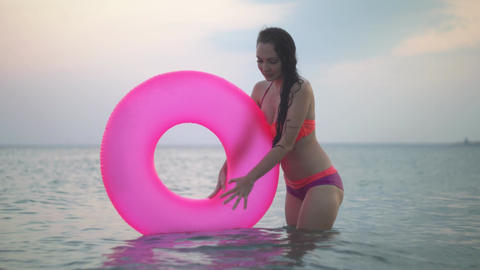 Girl bathes in the sea Footage