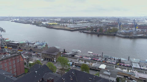 View of Hamburg on a cloudy day with a Drone Footage