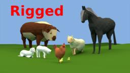 Low-Poly Farm Animals 3D Modell