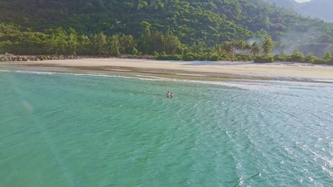 Amazing Aerial View Quiet Azure Ocean and Beautiful Beach Footage