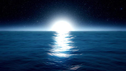 Blue Ocean Sea with Moonlight Environment Loopable... Stock Video Footage