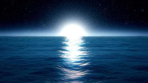 Blue Ocean Sea with Moonlight Environment Loopable Background Animation
