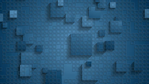 Blue geometric checkered video animation with squares Animation