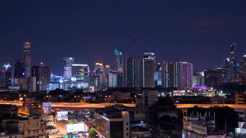 Bangkok night scene from Prime hotel view point(near Hua Lamphong train terminal Footage