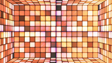 Broadcast Twinkling Hi-Tech Cubes Room, Brown, Abstract, Loopable, 4K Animation
