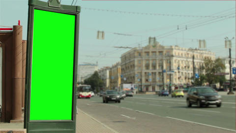 Advertising design with a green background near the road 画像
