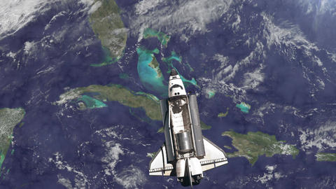 The Space Shuttle above the Earth. Elements of this image furnished by NASA Animation