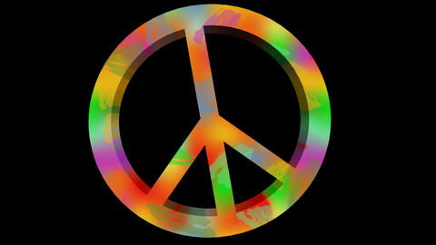For peace animation with anti war symbole in rainbow colors. 3d antiwar sign in  画像