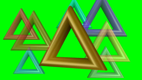 Abstract creative animation with triangles. Metallic triangles on green screen b Animación
