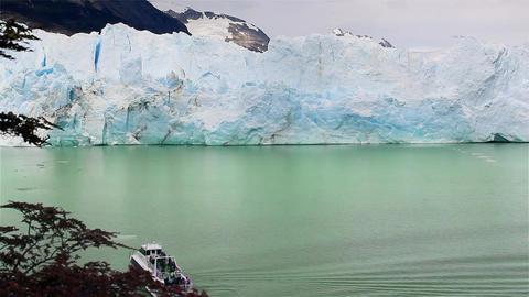 Boat With Tourists In The Perito Moreno Glacier Footage