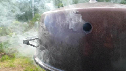 Smoke coming out from a smoker box, at a barbeque party, in slow motion Live Action