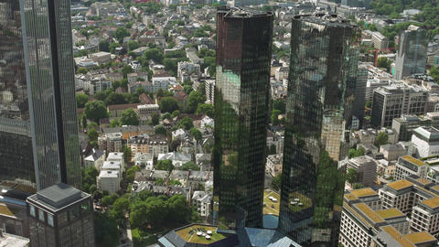 Deutsche Bank Towers twin skyscraper business high-rise landmark Footage