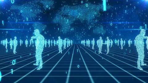 Business people in the digital cyberspace Animation