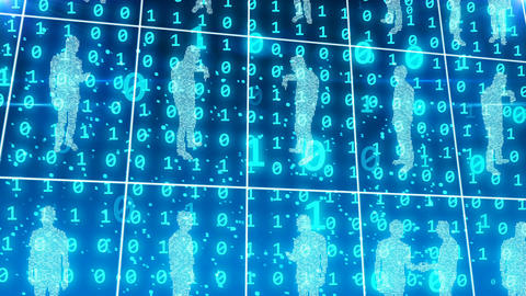 Business people in a digital cyberspace Animation