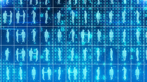 Business people in digital option in cyberspace Animation