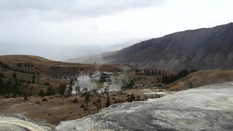 Zoom view from the top of mammoth hot springs, in Yellowstone national park, in  Footage