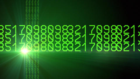 Green horizontal rotating numbers Footage