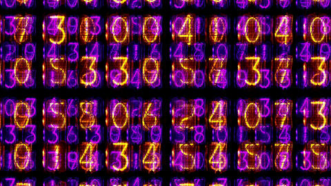 Overlapping lit numbers Filmmaterial