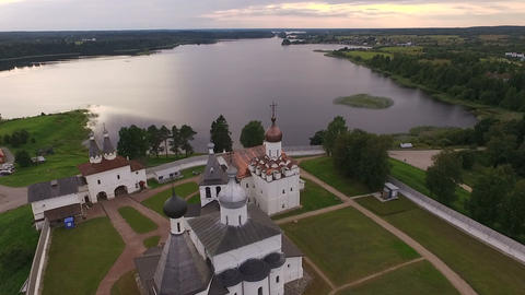 Aerial View of a picturesque ancient monastery on the shore of the lake Archivo
