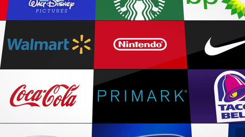 Corporate Company Logo Collection Stock Video Footage