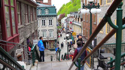Quebec City, Canada - May 30, 2017: People walking up famous stairs or steps on Footage