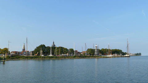 The skyline of the fishing village Enkhuizen harbor Footage