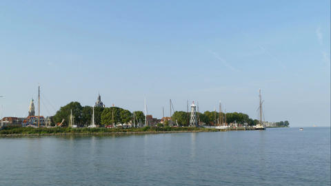 The skyline of the fishing village Enkhuizen harbor, time lapse Footage