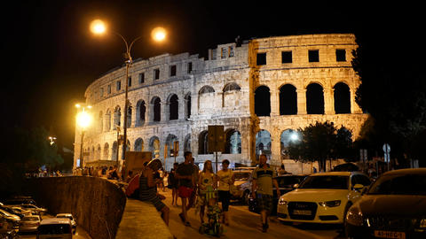 PULA, CROATIA - AUGUST 6, 2017. Famous ancient Roman arena at night Footage
