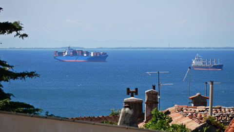 Distant container cargo ships in the sea harbour Footage