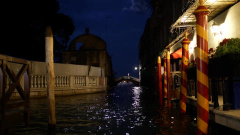 Canal in Venice at night Footage