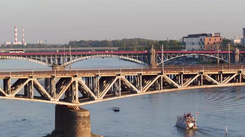 WARSAW, POLAND - AUGUST 30, 2017. Aerial shot of an old metal railroad bridge Footage
