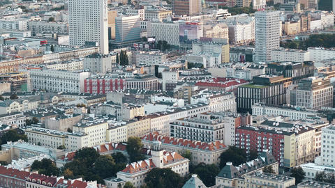 WARSAW, POLAND - AUGUST 26, 2017. Aerial view of city rooftops in the evening Footage