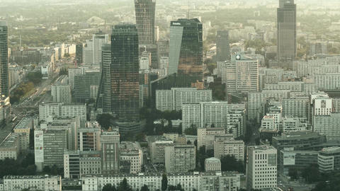 WARSAW, POLAND - AUGUST 28, 2017. Aerial shot of modern high-rise buildings in Footage